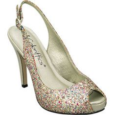 This sparkling glitter sling back on a wrapped platform will look glamourous with any style.