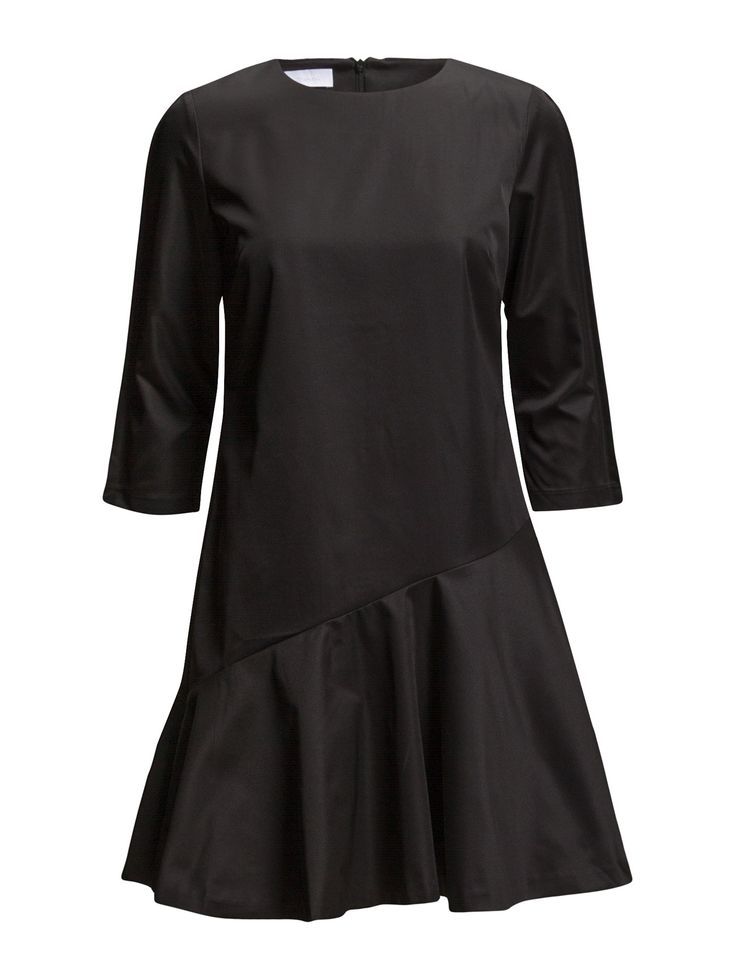 DAY - 2ND Corra Solid Like the black sheep in the family, this dress from 2ND DAY has a mind of its own. The twin sister but in black to our Corra Printed dress, watch for the diagonally-cut bottom, simple oval neck and comfy three-quarter sleeves. This dress is truly a crucial LBD for your wardrobe.  Asymmetric seaming Concealed back zip closure Slight ruffles Three-quarter length sleeves Elegant sophistication with a modern twist Feminine Black Dress