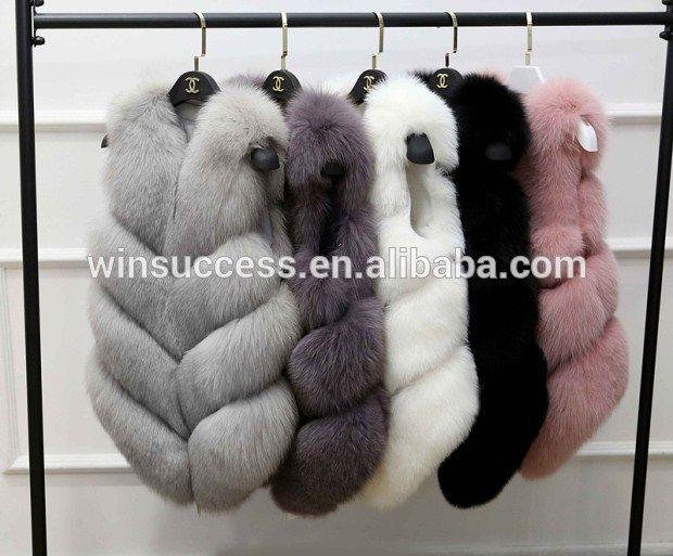 high quality long pile fluffy faux fox fur gilet for women