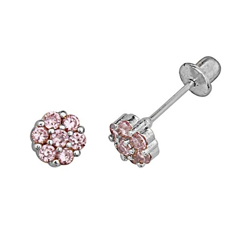 Baby and Children's Earrings:  Sterling Silver Pink CZ Flower Safety Screw Backs $37.18