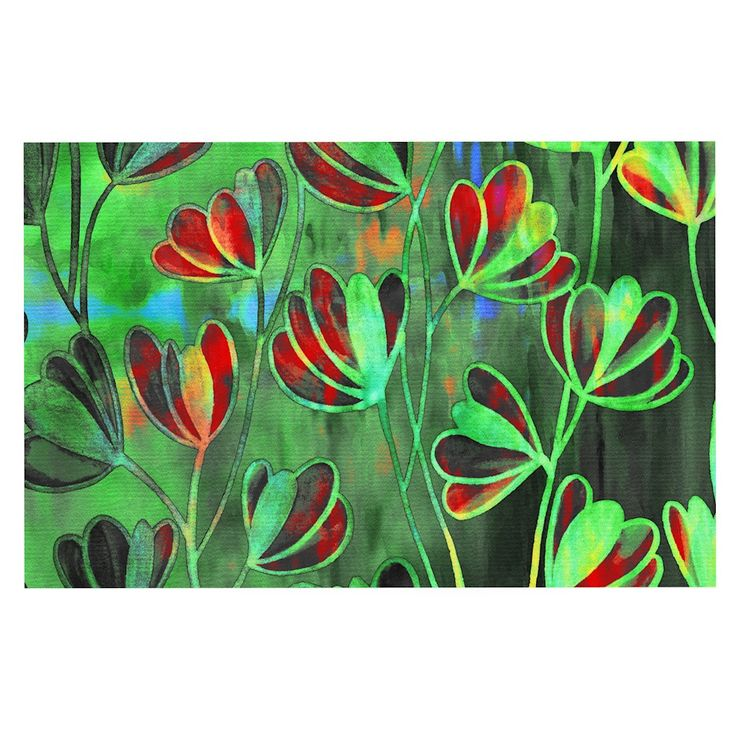 "Ebi Emporium ""Efflorescence - Red Green"" Lime Crimson Decorative Door Mat"