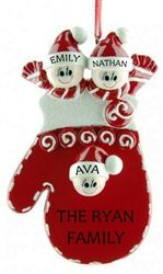 Personalised Christmas Ornament - Family of 3, Mitten! This cute and festive Ornament decorated with your family members names will look gorgeous on the Christmas Tree year after year. WowWee.ie | €13.45