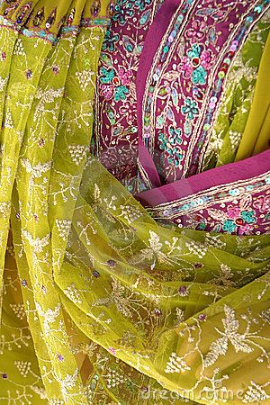 Indian fabric.  chartreuse and violet