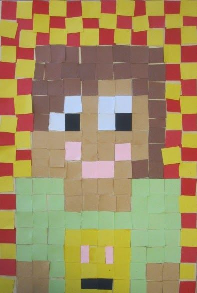 shine brite zamorano: hip to be square. Self portrait collage in the style of minecraft using squares of paper.
