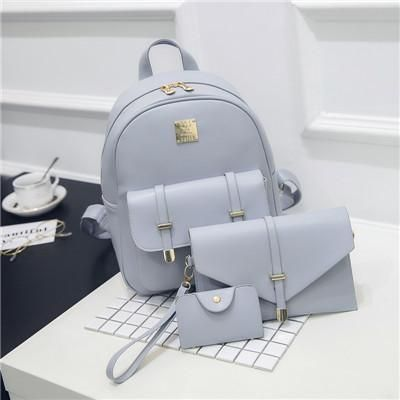 3Pcs/Set Small Women Backpacks Solid Fashion School Bags For Teenage Girls Black PU Leather Women Backpack Shoulder Bag Purse