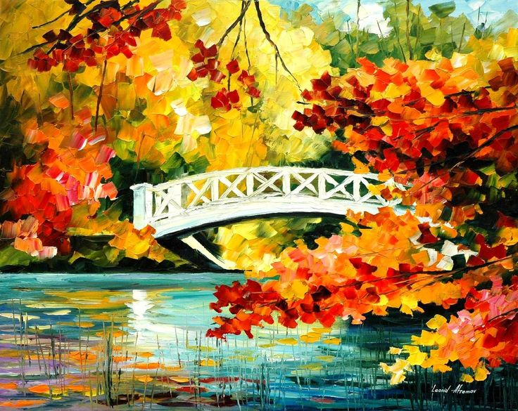 "BRIDGE OVER INNOCENCE— PALETTE KNIFE Oil Painting On Canvas By Leonid Afremov - Size 30""x40"""