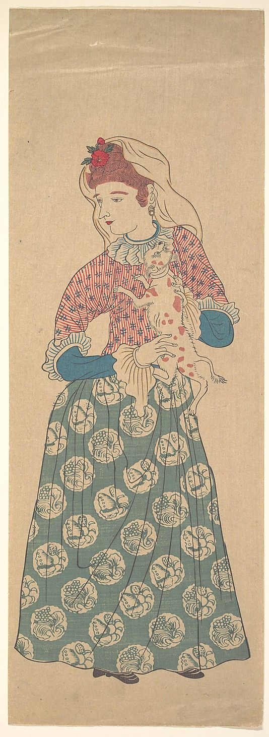 Dutch Woman Holding a Dog, first half of the 19th century. Edo period (1615–1868). Japan. The Metropolitan Museum of Art, New York. Gift of Lincoln Kirstein, 1959 (JP3304) #dogs