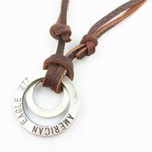 Collares de cuero, alta calidad de hombre círculo collar retro, joyería de moda, 100% cuero genuino, artesanal de joyas, PL248 / leather(China (Mainland))