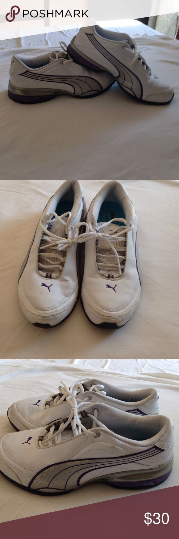 Puma Tennis Shoes Slightly used Puma Tennis Shoes. Purple, silver, and white. Puma Shoes Athletic Shoes