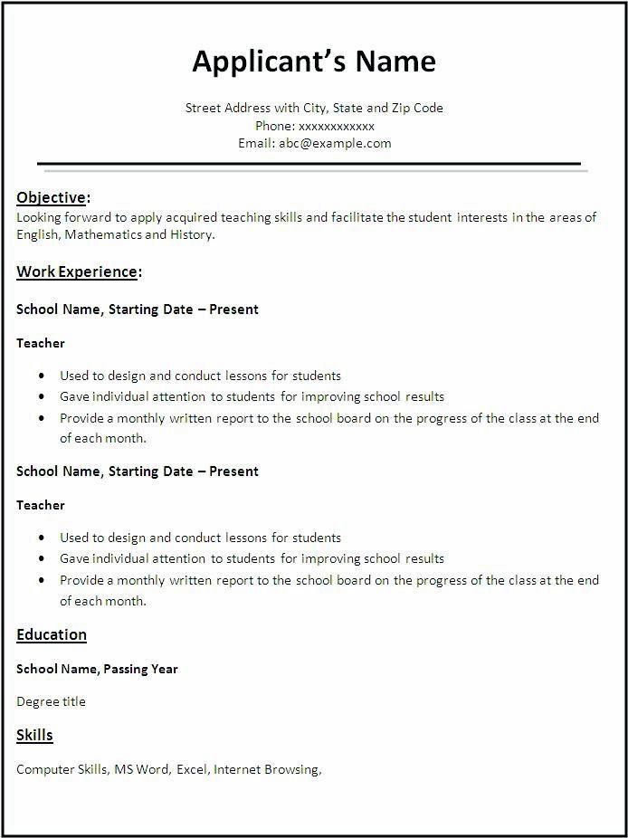 Free Resume Templates In English Teacher Resume Template Job Resume Samples Downloadable Resume Template