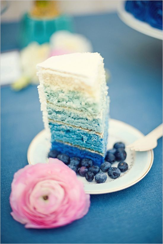 ombre layered blue wedding cake