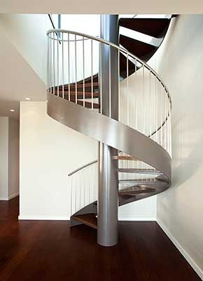 Jackson St. Penthouse - San Francisco, Modern Spiral Staircase to rooftop deck, steel with wood treads, Mahogany wood floor