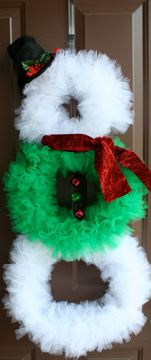 Wreath Snowman w/ Tulle Scarf Hat and bells by Luceaccents on Etsy, $40.00