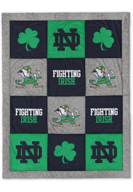 Planning to deck your dorm room out in Irish gear this school year?  Your bed NEEDS this blanket with your favorite Notre Dame logos, including the leprechaun, the monogram, and the shamrock!