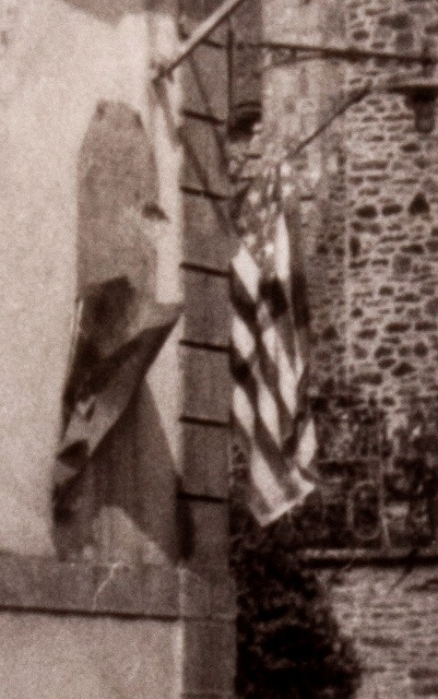 World War II photo showing an American flag marking the way during the Normandy Invasion of France, 1944 – Photo taken by the 9th U.S. Army Air Corps, 6th TAC