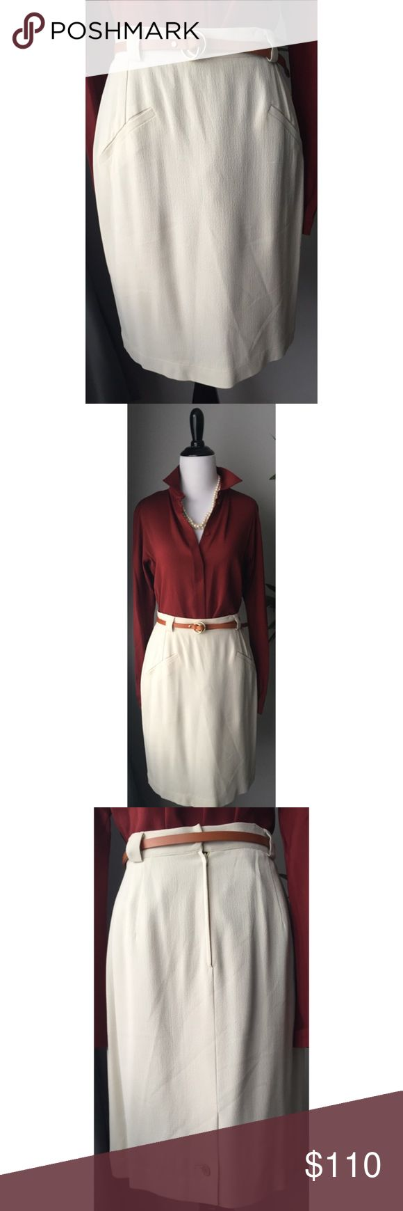 🎉 Flash Sale! Giorgio Armani Cream Crepe Skirt Near new condition. Only worn by a couple of actresses on a tv show (hence the label ironed inside of the skirt in the last picture). Cute button detail at rear vent. Belt sold separately! Giorgio Armani Skirts
