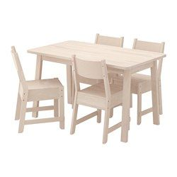 NORRÅKER / NORRÅKER Table and 4 chairs, white birch, white birch - IKEA