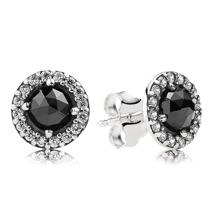 #PANDORA sterling silver stud earrings with black spinel and cubic zirconia RRP $79