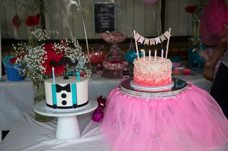 Tutu and 'Stache Bash  Birthday Party cakes by Cakes @ Tiffany's