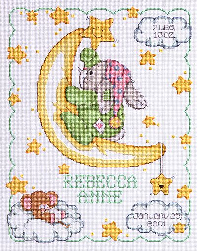 063-0102 Crescent Moon Birth Announcement - Janlynn.com