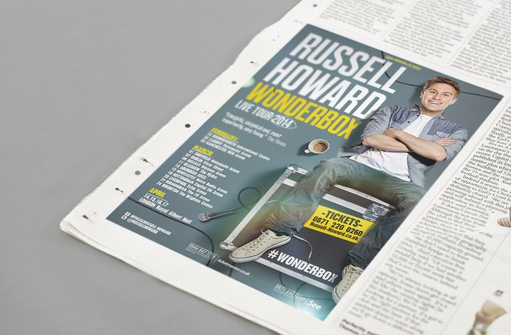 Russell Howard - Wonderbox Tour - Press Design and Art Direction - Jonny Costello Photography - David Venni ©fluidesign