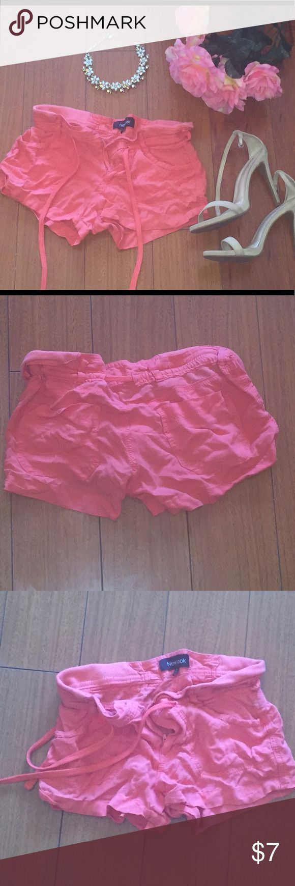 Cute and Comfy Drawstring Shorts in Peach Great condition. Comfortable shorts for summer. 4 pockets. Zip, Button, and Drawstring in front. 60% cotton, 40% polyester New Look Shorts Cargos