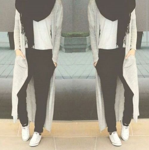 long cardigan adidas style, How to get hijab trendy looks http://www.justtrendygirls.com/how-to-get-hijab-trendy-looks/