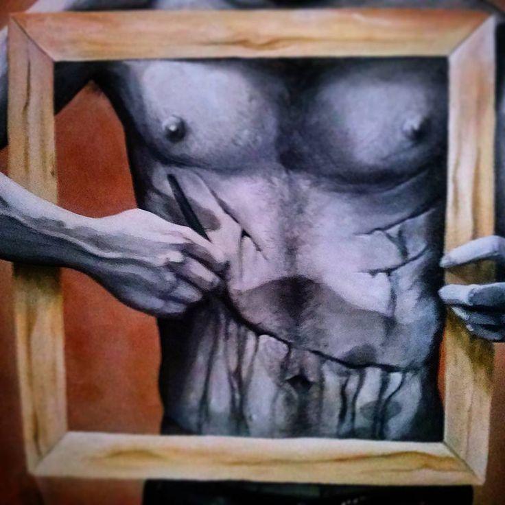 """""""Autoerotismo - Fallimento dell'impossibile 1/3"""" 120x100cm acrilico su tela, 2015  Io sono il me stesso incompiuto. Io sono la mia copia imperfetta. Sono io il modello di me stesso. Sono il mio corpo ferito e sono la mia stessa immagine riflessa.  Detail"""