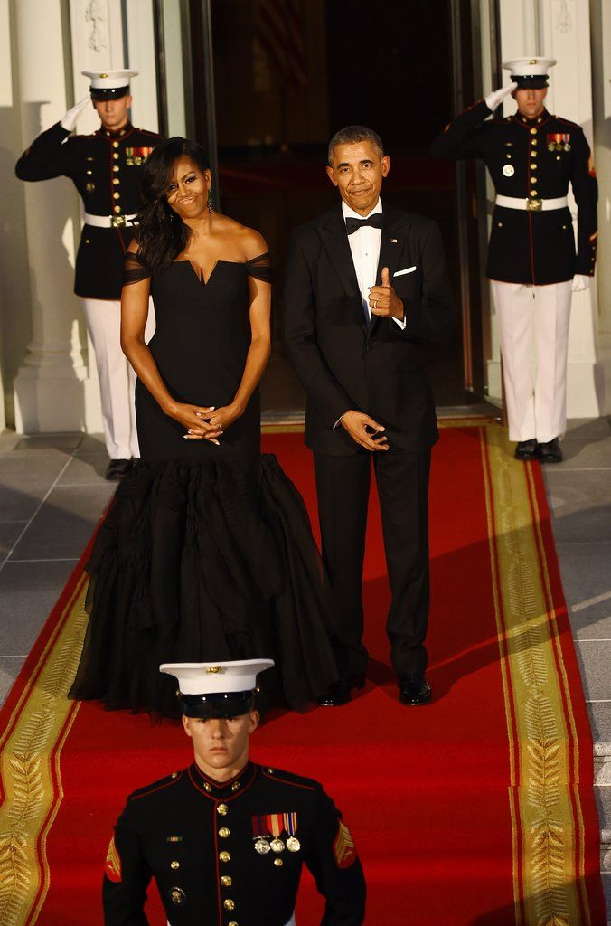 Michelle Obama's Black Dress at State Dinner | POPSUGAR Fashion
