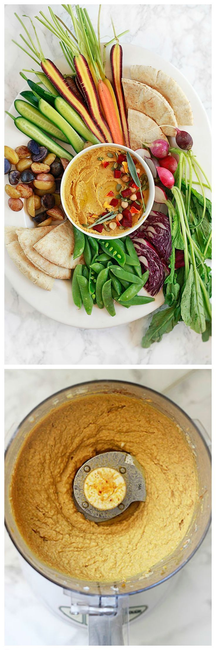 Pumpkin Hummus recipe perfect for a vegan Thanksgiving, fall appetizer with crudites, or sandwich spread.