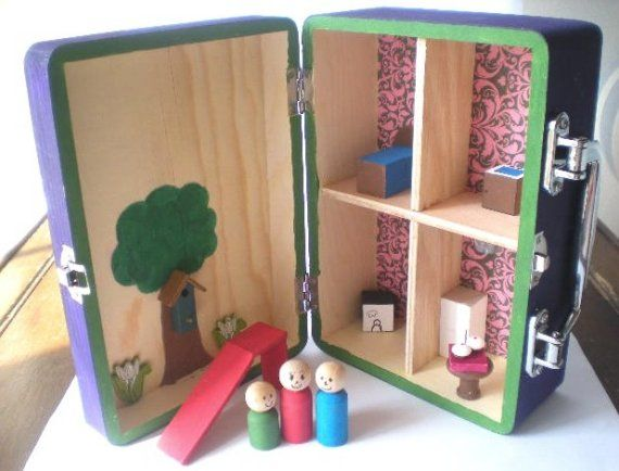 CUSTOM Carry Along Wooden Dollhouse Purse for by BrickMaster3
