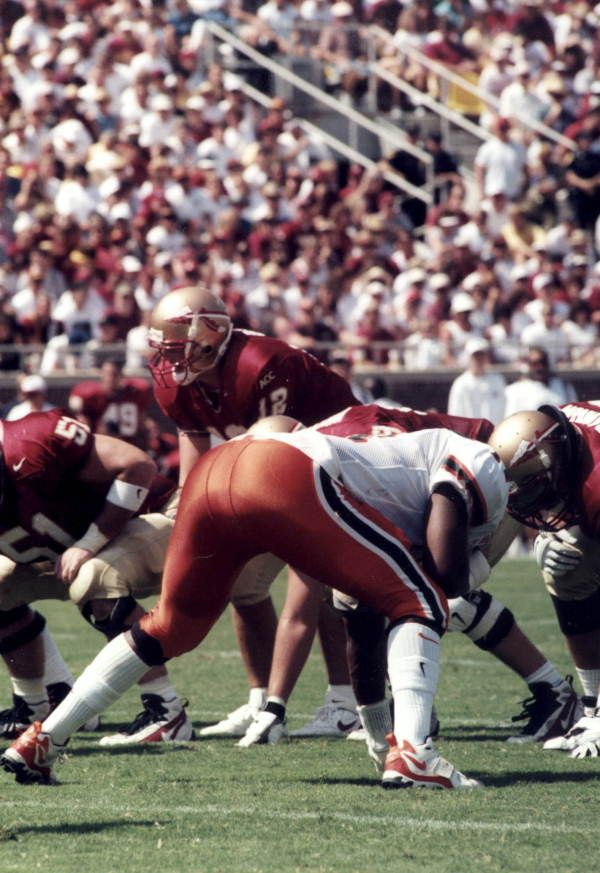 Florida Memory - FSU quarterback Thad Busby under center against Miami at Doak Campbell Stadium - Tallahassee, Florida,1997