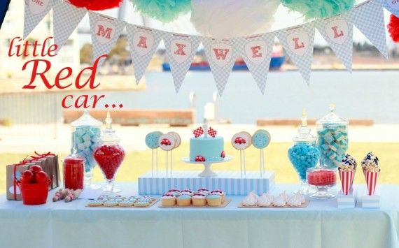 Love baby blue & red together!  Definitely using some of these ideas for fins bday. Children's Little Red Car Birthday Party on http://pizzazzerie.com