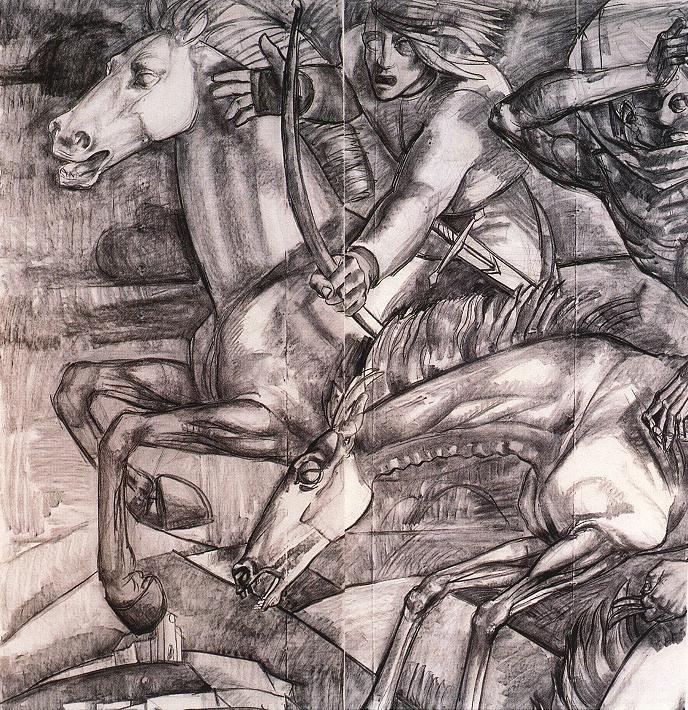 Caricatura de la Capilla Millenial en Pannonhalma por Vilmos Aba-Novák