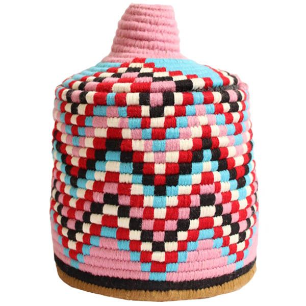Wool Lidded Moroccan Baskets – Ethnic Pattern – Pink & Blue. From Baba Souk