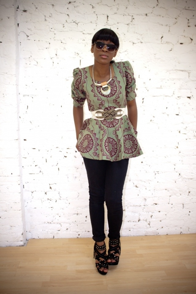 belted ruched, African inspired tunic
