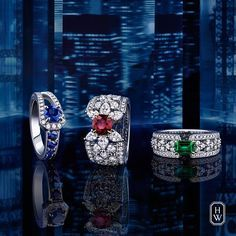 Harry Winston. Emerald, Ruby, Sapphire and Diamond rings
