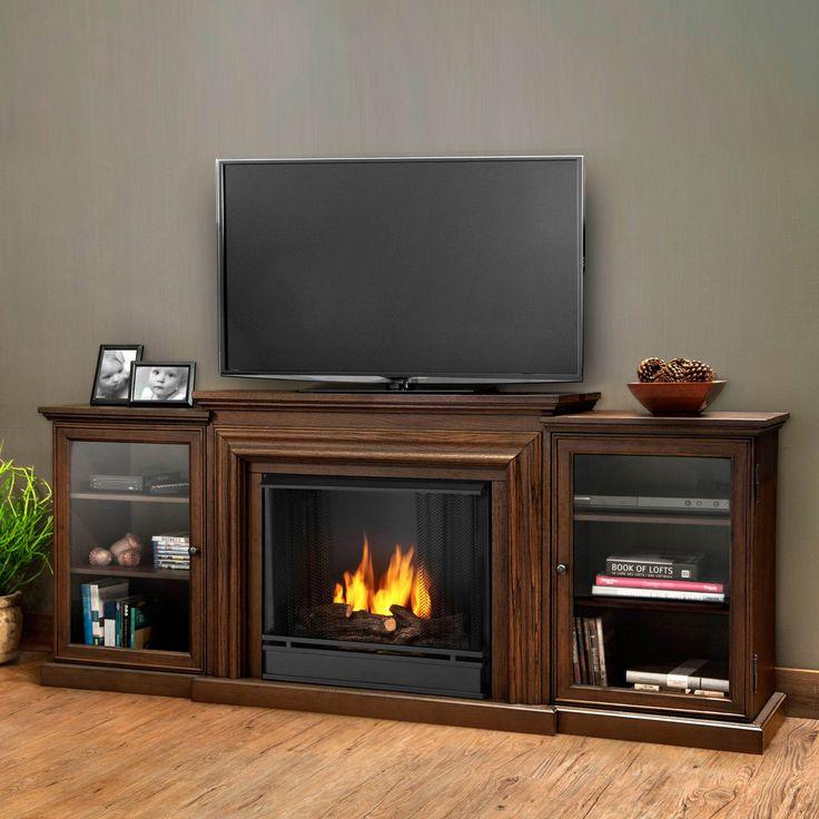 Real Flame Frederick Entertainment Center Ventless Gel Fireplace - Chestnut Oak - 7740-CO