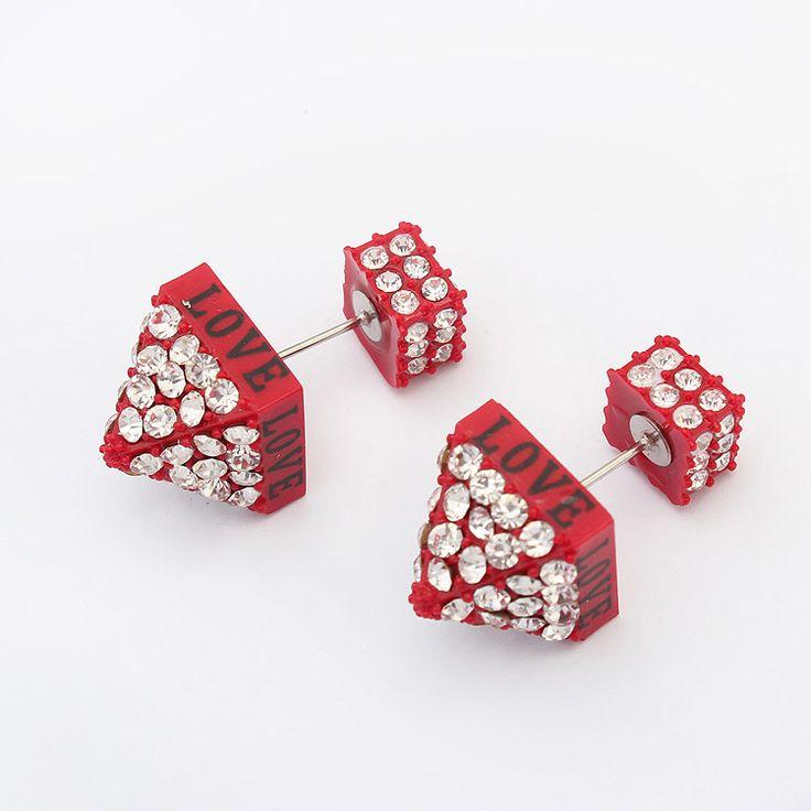 Pendientes de Doble Bola, resina, palabra amor, con diamantes de imitación, Rojo, 2x1cm, Vendido por Par,Abalorios de joyería por mayor de China