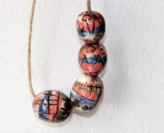 Set of 4 easter beads blue green white oval par CeramicBeadsArt