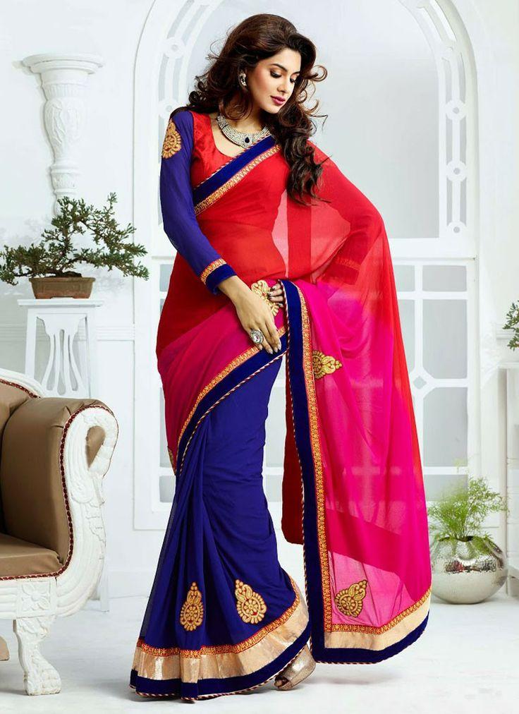 #Blue  Red #Saree