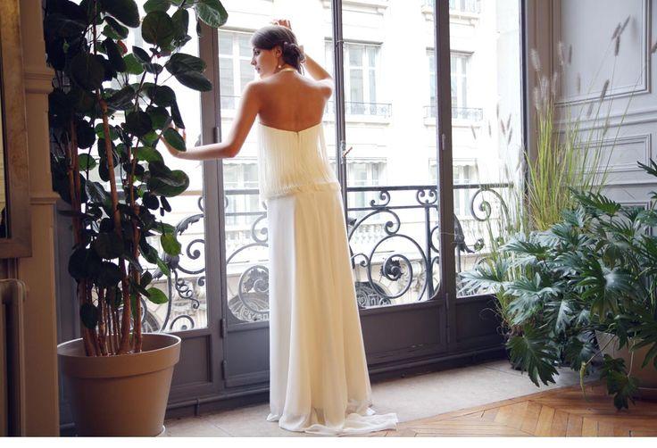 """Robe de style """"année 20"""",en crêpe georgette et franges retenues.Photo:Amel Kerkeni."""