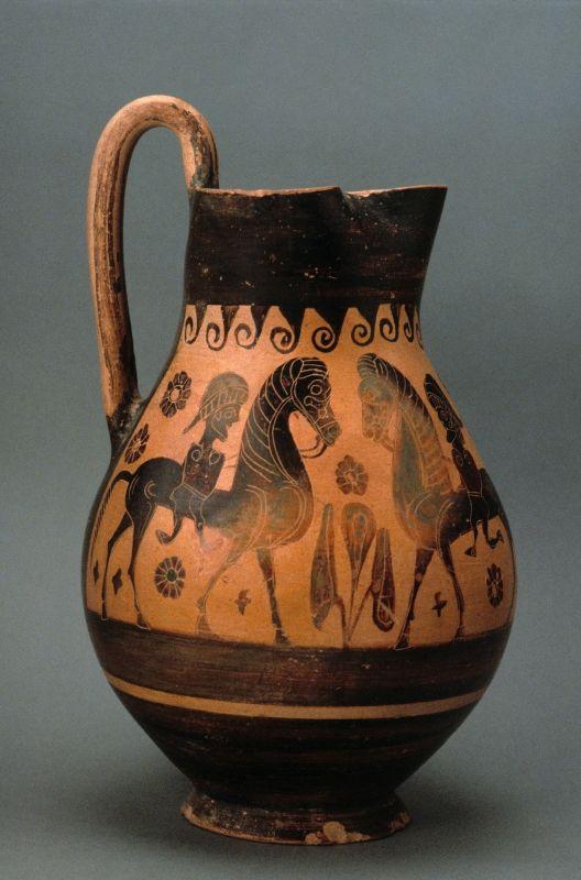 Greek, Attic Black-figure trefoil oinochoe (olpe): two horsemen, ca. 600 – 580 B.C.