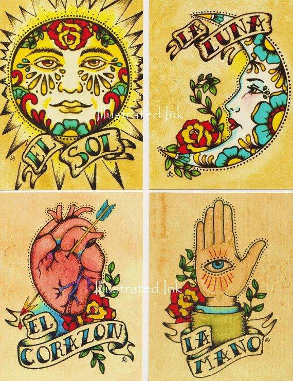 Folk Art POSTCARDS Mexican Loteria Tattoo Art by illustratedink