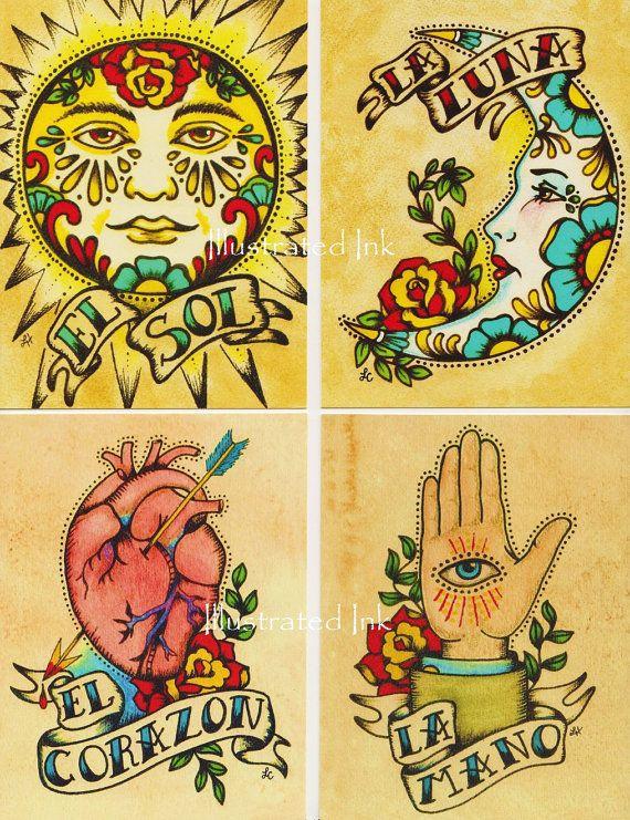 Folk Art POSTCARDS Mexican Loteria Tattoo Art by illustratedink