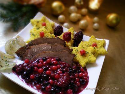 Gesztenye receptjei: Erdei gyümölcsös szarvas szelet zöldfűszeres polenta csillaggal