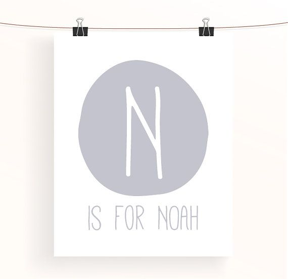 Grey nursery print  letter N is for Noah  gray baby by madebyaiza