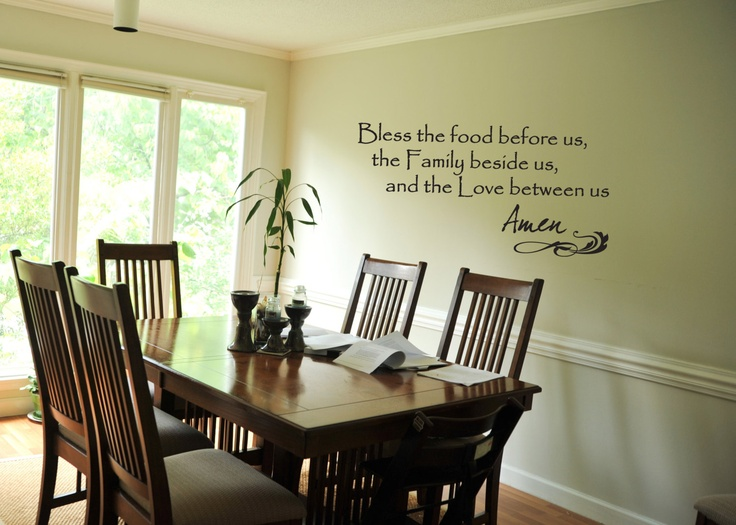Wall decal bless the food before us quote prayer for Dining room quote decals