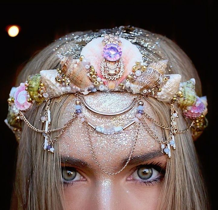 Floral crowns may be a staple for festivals and whimsical parties, but Chelsea Shiels is taking the world by storm with her mermaid-inspired, seashell-encr