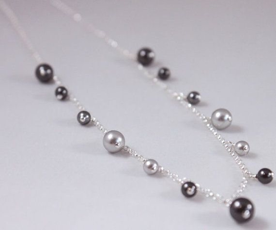 Grey pearl jewelry set necklace bracelet by CrystalHandmade, $87.00